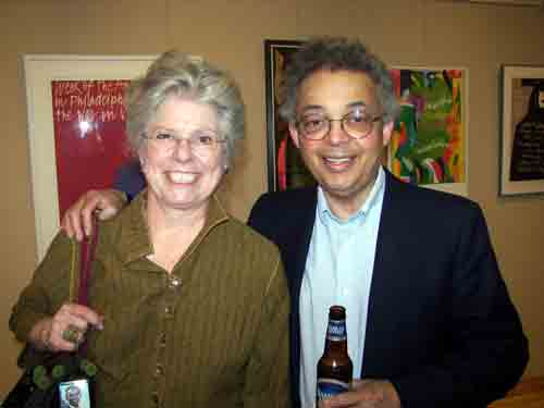 Phyllis & Bob Jackson (co-curator) @ Sam Maitin retrospective opening party.  The Sam Maitin exhibit is up through May 30th.