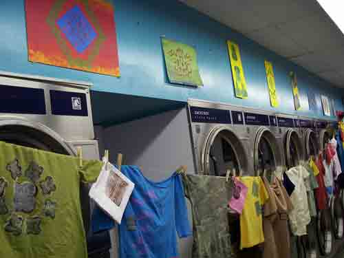 Paintings by Josh & wearable art by Lillie Ruth Bussey @ 10th Street Laundromat.