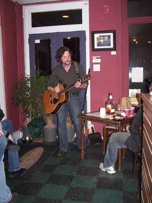 Rocker/painter Henry Martin performing @ DoN's opening party @ The Beauty Shop Cafe.