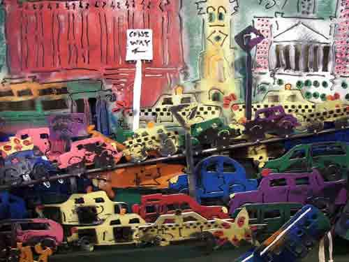 Detail from Lana Garner's welded art on an old car hood.