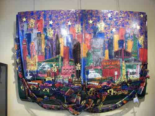 Cityscape on a car hood by Lana Garner @ Home and Planet.