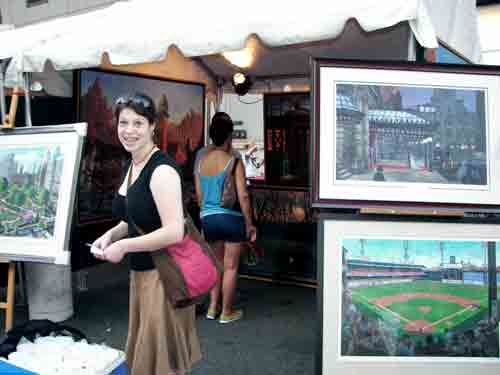 Artist Jessica Barber helped with the booth for Charles Cushing @ Welcome America.