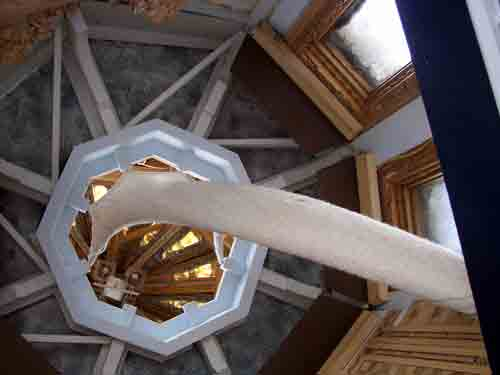 Looking up into the turret Pellnat built on the roof.