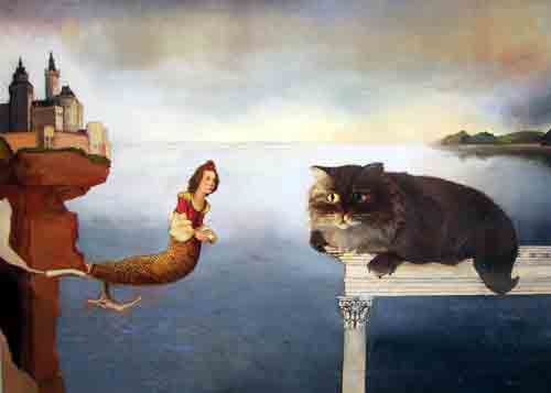 "Anne Canfield's ""The Mermaid and the Tiger Meet Halfway"", oil on linen."