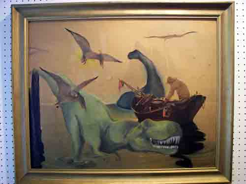 "Artist/Model Hannah Holby's ""Fisherman - T Rex"", oil on print.  DoN LoVeS dinosaurs!!!"