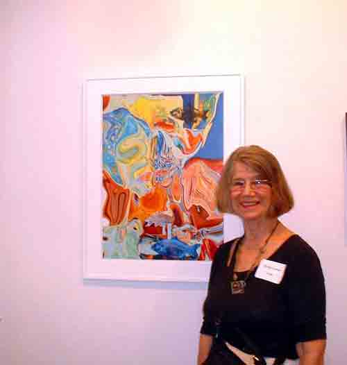 Artist Marilyn Lavins with her entry in Photo Synthesis @ DaVinci Art Alliance.