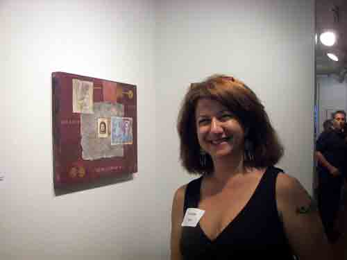 Artist Liz Nicklus with her photo montage/collage.