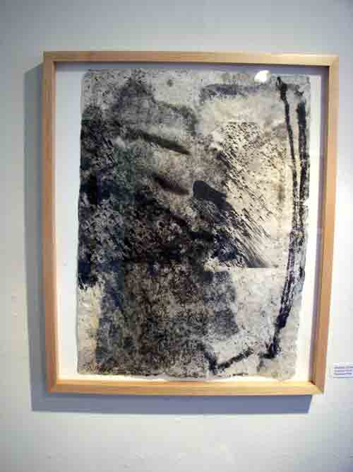 """Ancestral Sands"", pigmented pulp with lithograph and xerox printing by Bobbie Diamond Adams @ The Hopkins House."