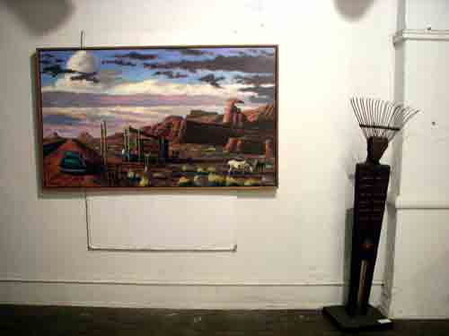 Painting by Charles Cushing and sculpture by Carol Cole @ 915 Spring Garden art studios.