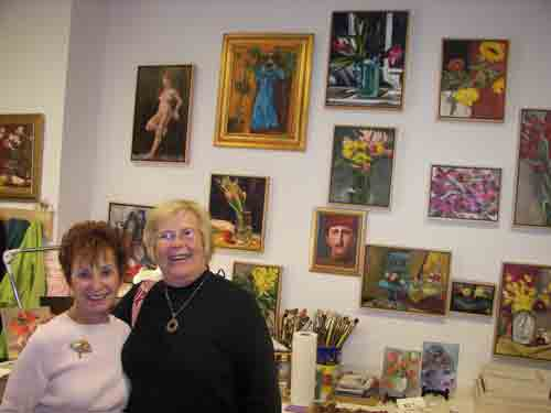 Dr. Doris Peltzman with friend Reta Sweeney at Morris Street Studios deep in South Philly.