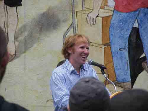 David Guinn @ the dedication to his dual murals.