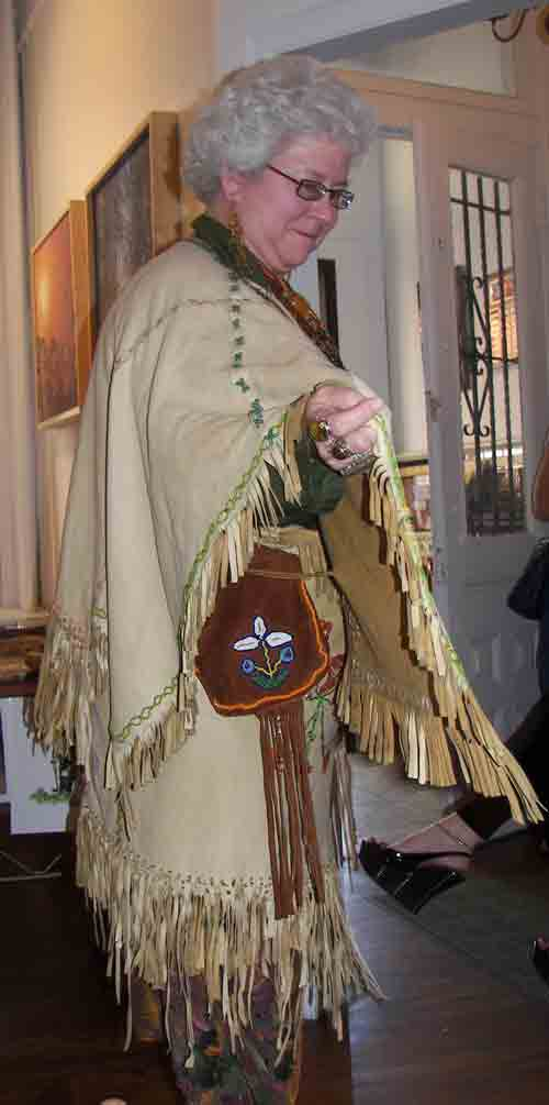 Carla Messinger (a Lenape descendant) displaying authentic garb.  The lecture was sponsored by the Pennsylvania Humanities Council, you can learn more at www.lenapeprograms.info.