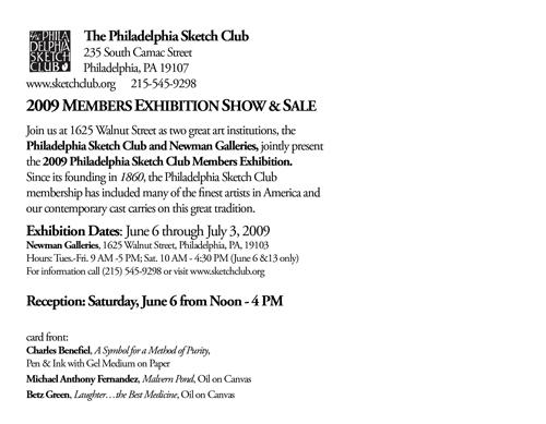 Philadelphia Sketch Club Members Show @ Newman Galleries