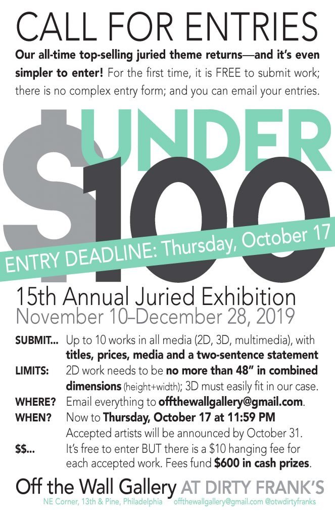 UNDER 100 Entry Guidelines Poster, OTWGallery, September 2019