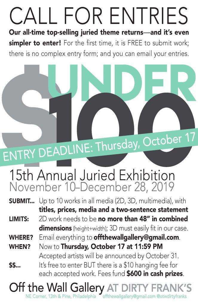UNDER 100 Entry Guidelines Poster, OTWGallery, September 2019